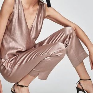 Zara Basic Women's Pink Champagne Satin Pants
